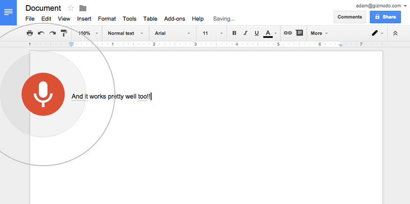 Illustration for article titled You Can Now Type With Your Voice in Google Docs