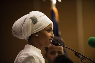 Ilhan Omar, giving her acceptance in Minneapolis on election night Nov. 8, 2016, after becoming the first Somali-American Muslim woman to hold public office after winning election to become the state representative for District 60B in Minnesota.