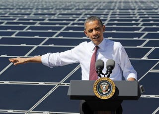 President Barack Obama speaking in March 2012 at Sempra U.S. Gas & Power's Copper Mountain Solar 1 Boulder City, Nev., facility, the largest photovoltaic solar plant in the U.S.Ethan Miller/Getty Images