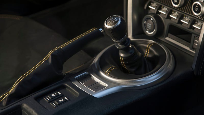 The Manual Shifter In A 2017 Subaru Brz Yellow Series Image