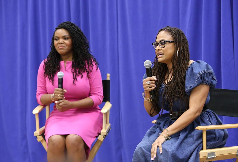 Compton, Calif., Mayor Aja Brown with director Ava DuVernay at a special advance private screening of A Wrinkle in Time, attended by students from various middle schools around the city of Compton, on March 2, 2018, in Compton