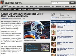 Illustration for article titled Bleacher Report Suspends Cam Newton