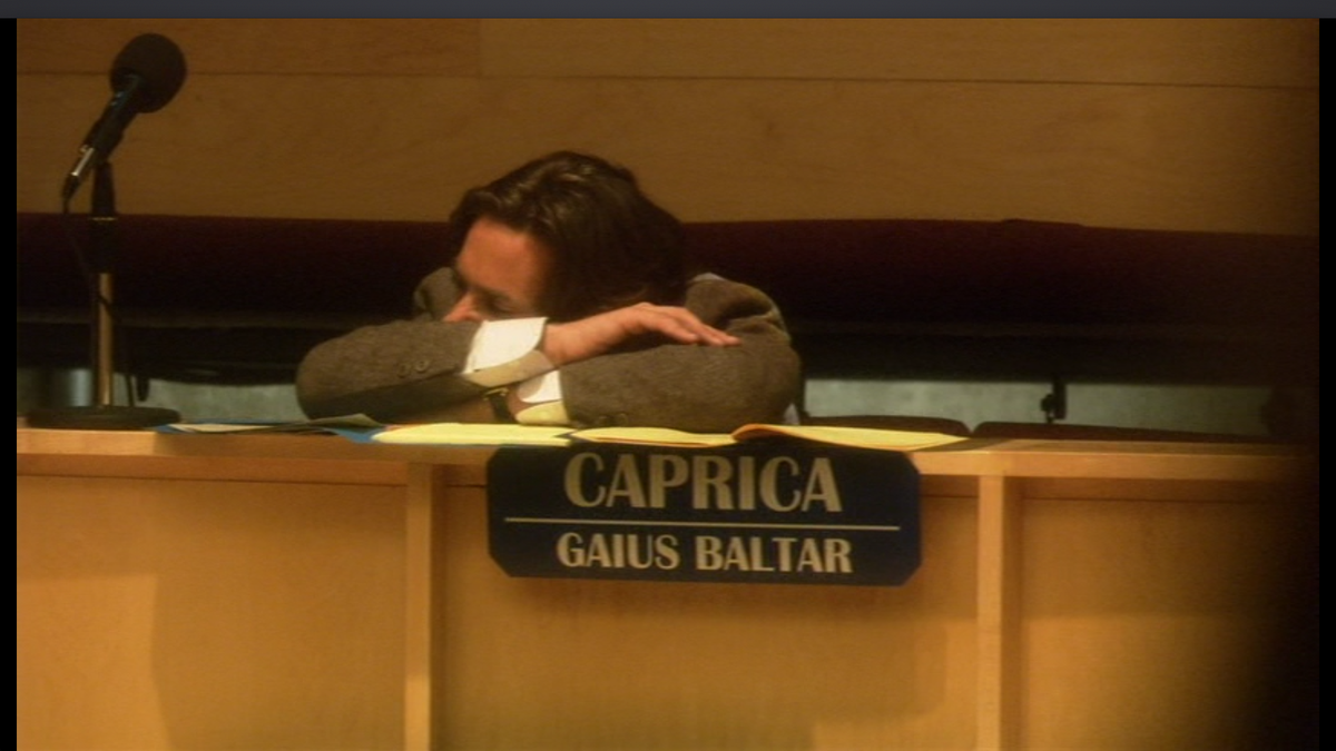 Image result for gaius baltar former president of the twelve colonies