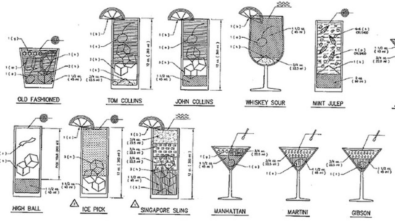 Cocktail blueprint showcases drink recipes as construction plans malvernweather Choice Image