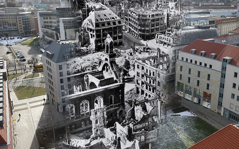 Illustration for article titled Sobering Photos Compare Dresden After The Firestorms To Now