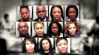 Eleven Atlanta educators were found guilty April 1, 2015, of falsifying documents and changing students' exam answers to improve test scores. NBC NIGHTLY NEWS SCREENSHOT