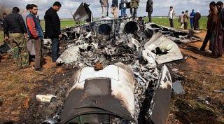 Illustration for article titled First photos of US fighter jet crash in Libya