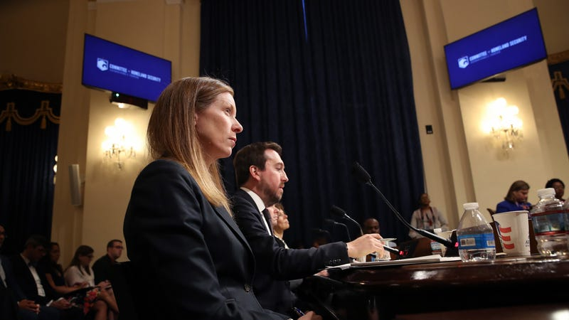 Monika Bickert, head of global policy management at Facebook and Nick Pickles (R), testify before the House Homeland Security Committee June 26, 2019 in Washington, DC.