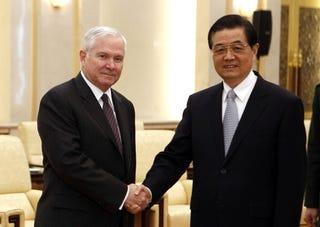 U.S. Secretary of Defense Robert Gates and President Hu Jintao of China (Getty)