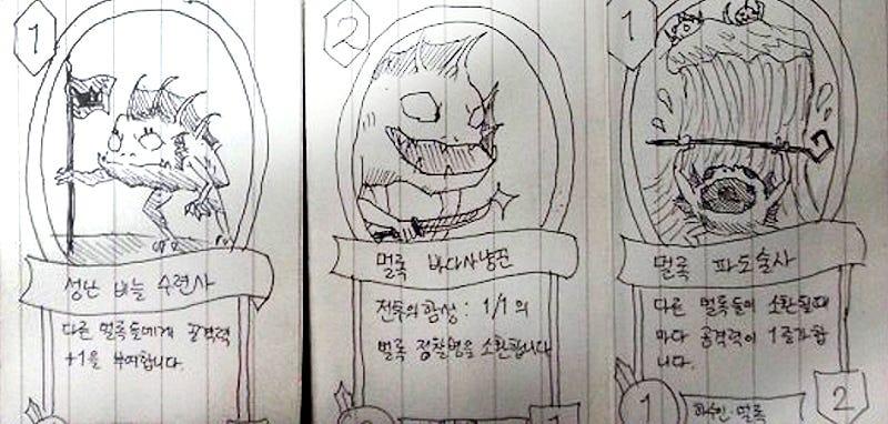 Illustration for article titled Reclutas coreanos idean una genial manera de jugar a Hearthstone: con lápiz y papel