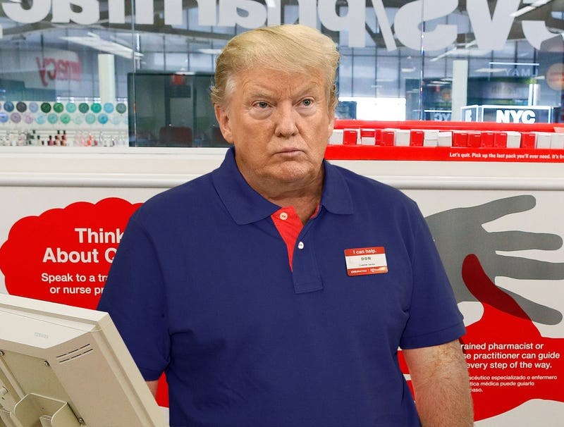 Illustration for article titled Trump Forced To Take On Second Job As CVS Cashier In Order To Pay Down Business Debts
