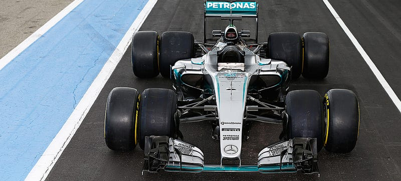 2017 Pirelli F1 tires inside, 2016s on the outside. Photo Credit: Mercedes F1