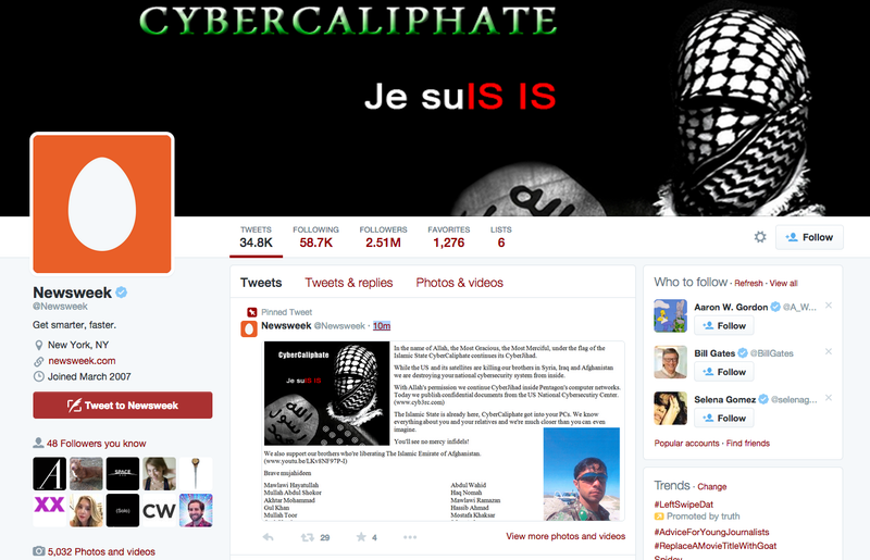 Illustration for article titled Newsweek Twitter Hacked by Group Alleging Themselves to Be ISIS