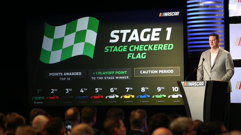 NASCAR's executive vice president, Steve O'Donnell, explains a new racing format for all three of the sanctioning body's top series on Monday. Photo credit: Chris Graythen/Getty Images