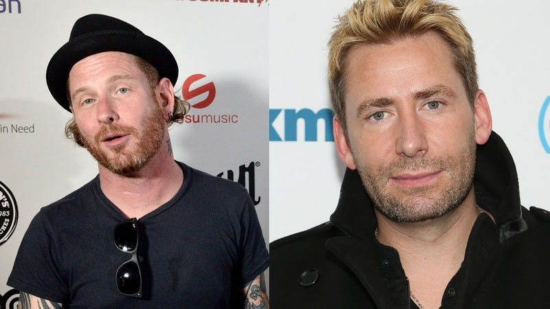 Corey Taylor and alleged foot-face Chad Kroeger. (Photos: Scott Dudelson/Getty Images, Monica Schipper/Getty Images)