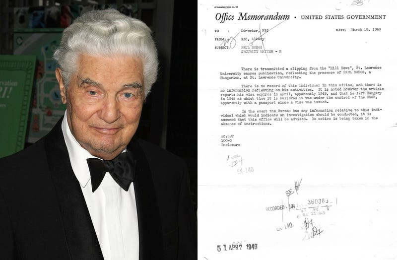 Paul Soros at a fundraiser for the Central Park Zoo on June 3, 2008 in New York City (Photo by Andrew H. Walker/Getty Images) and a page from his FBI file in 1949