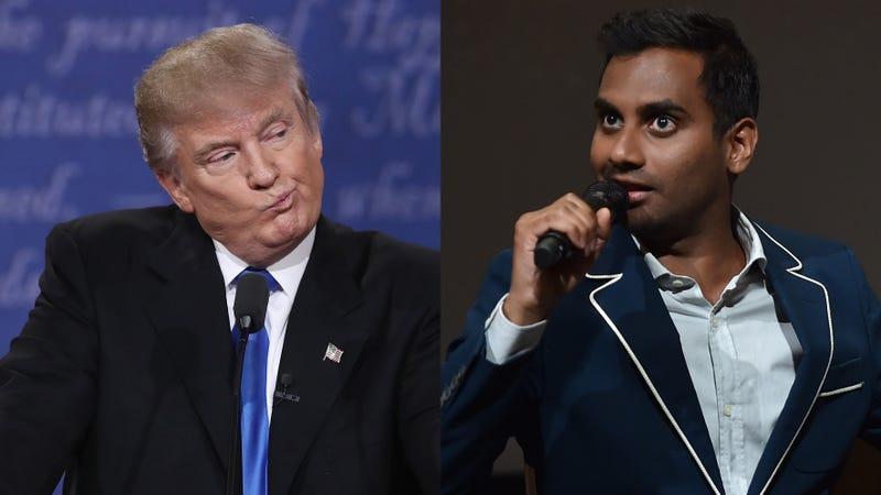 Donald Trump (Win McNamee/Getty Images); Aziz Ansari (Alberto E. Rodriguez/Getty Images For Netflix)