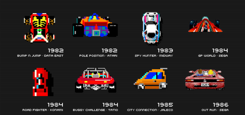 Illustration for article titled Here's A Big Poster With All The Best 8-Bit Video Game Cars