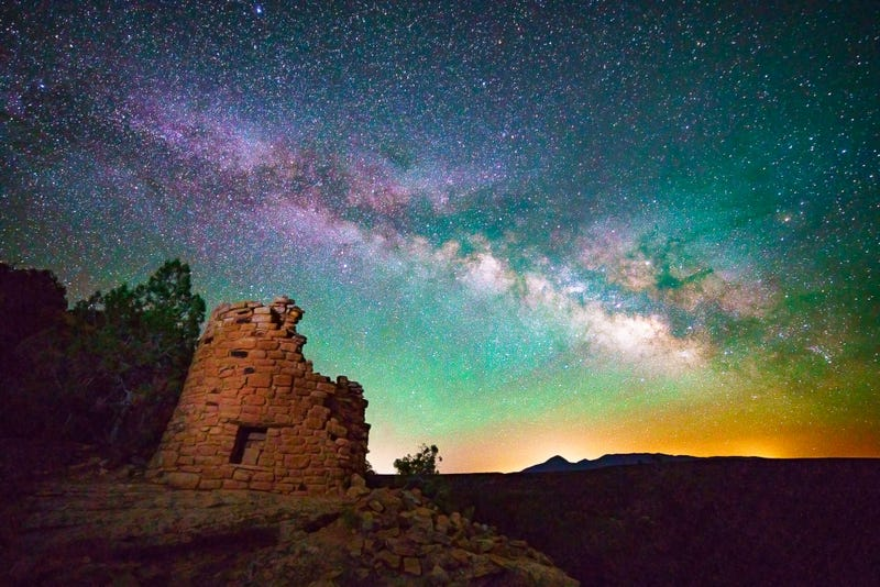 The Milky Way rises over the ruins of an ancient, multi-story dwelling at Canyon of the Ancients, Colorado
