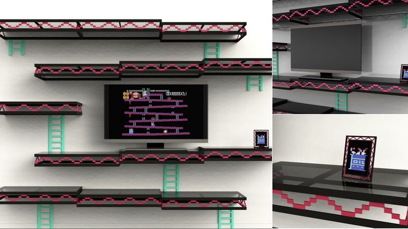 Illustration for article titled Always Be Gaming: A Stylish Donkey Kong-Inspired Shelving Unit for Your Home