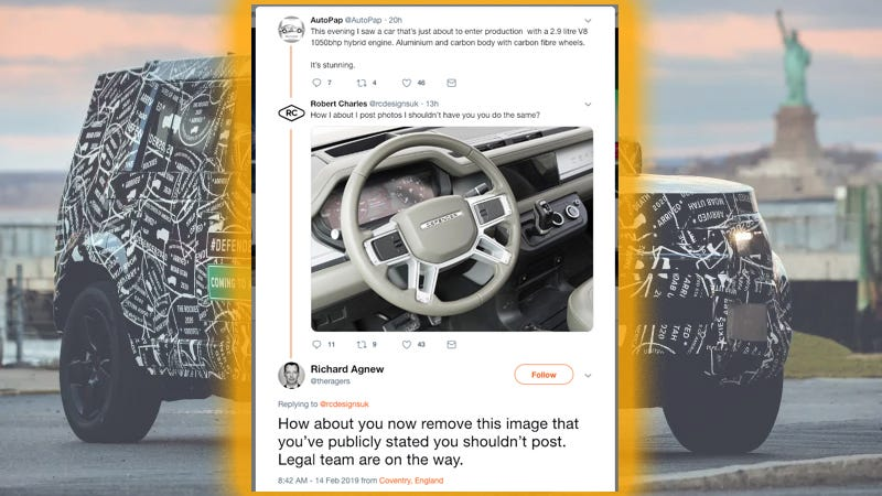 Illustration for article titled 2020 Land Rover Defender's High-Tech Dash Revealed In Hilarious Twitter Fight (Updated)
