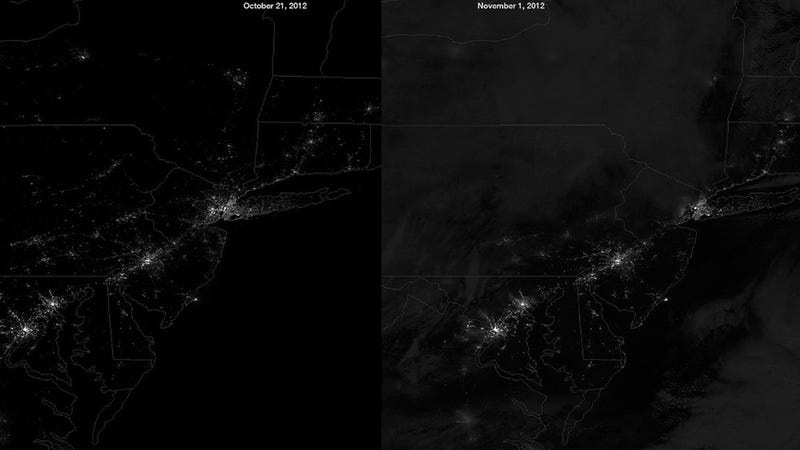 Illustration for article titled Here's What the Hurricane Sandy Blackout Looked Like From Space