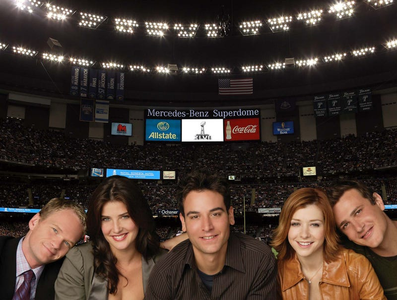 Illustration for article titled Cast Of 'How I Met Your Mother' Hamming It Up At Bottom Of Screen For Entire Super Bowl