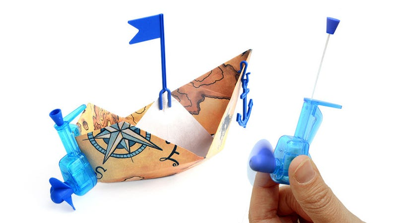 Illustration for article titled Power Your Origami Paper Boat With This Tiny Outboard Motor