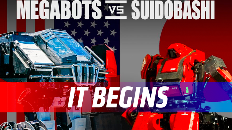 Illustration for article titled Watch The First Real Giant Robot Fight In History LIVE