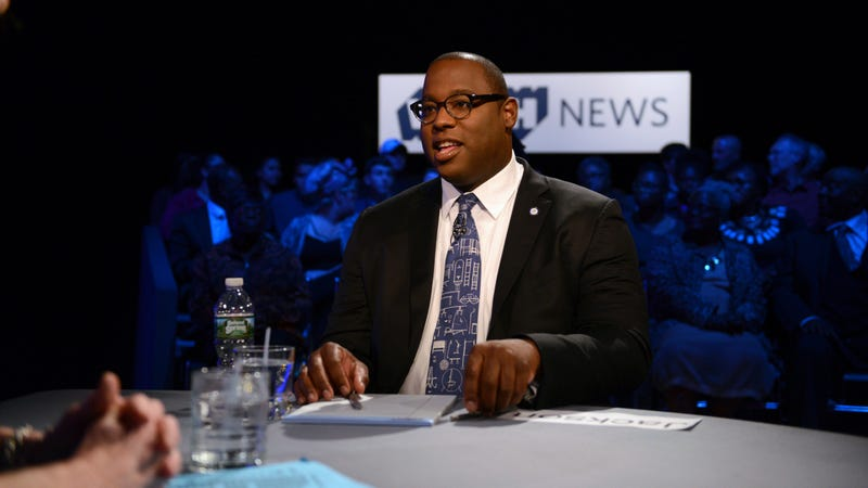 City Councilor Tito Jackson participates in a mayoral debate at the WGBH Studios in Boston on Oct. 24, 2017. (Meredith Nierman/WGBH News via AP, Pool)