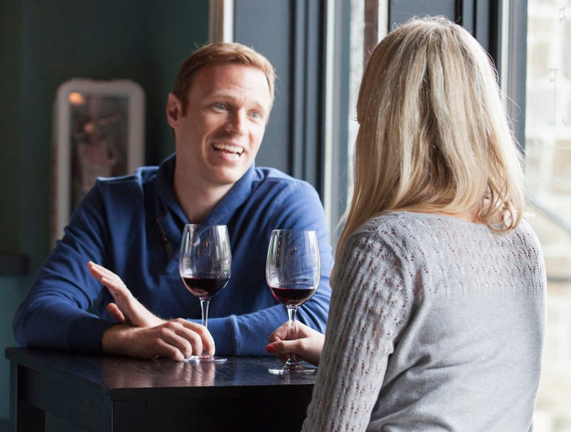 Illustration for article titled 'First Date Going Really Well,' Thinks Man Who Hasn't Stopped Talking Yet