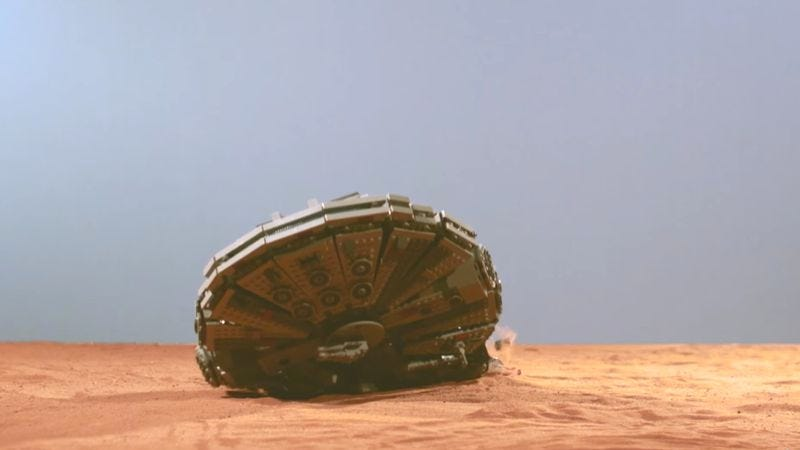 Illustration for article titled Behold the destruction of the Millennium Falcon (in Lego form)