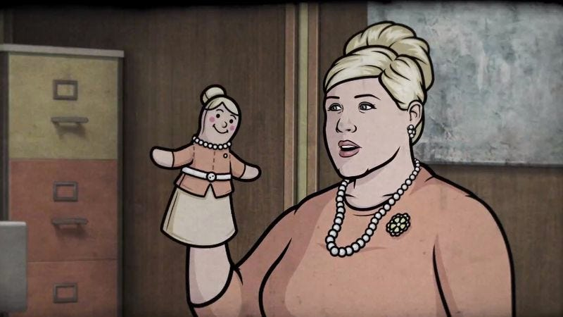 Illustration for article titled Watch Pam Poovey from Archer resolve an internal conflict with a hand puppet