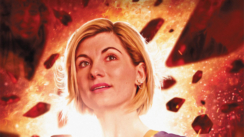 The Doctor looks back on her many pasts in the cover for The Many Lives of Doctor Who.