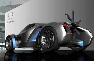 Illustration for article titled Peugeot Concept Cars of Tomorrow Have Propellers, Joysticks