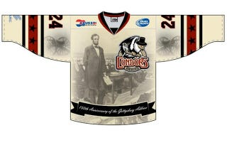 Illustration for article titled This Abe Lincoln-Inspired Hockey Jersey Is A Thing To Behold
