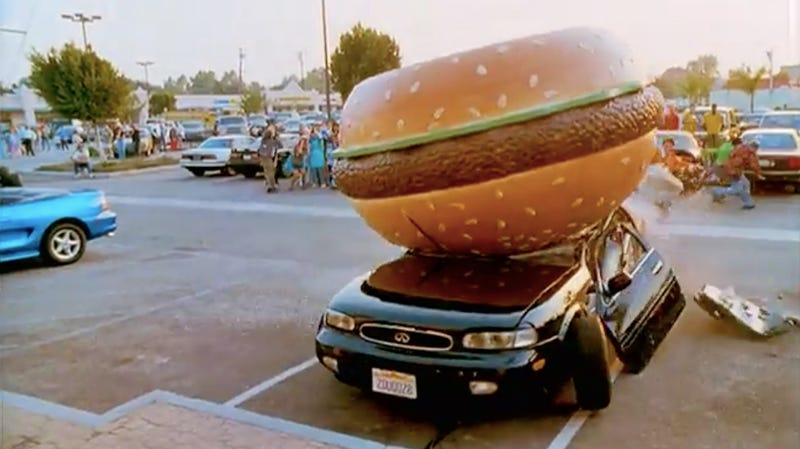 This is not the Burger Mobile, but damn, a lot of burger-car action happened in this movie.
