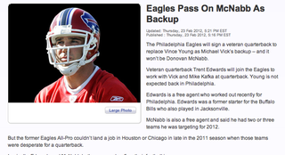 """Illustration for article titled Eagles Sign Trent Edwards, Or As Philly TV Station Puts It, """"Eagles Pass On McNabb"""""""