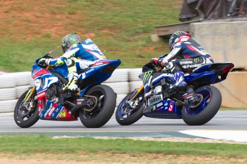 Yamaha's Cameron Beaubier, right, gets ready to pass Suzuki's Toni Elias for the win. (Photo credits: Erik Schelzig)