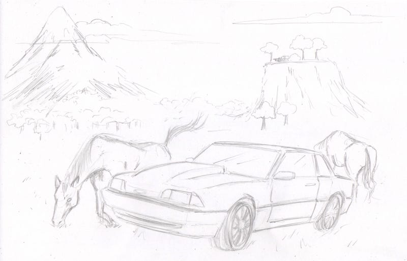 Illustration for article titled Aw.  Look at the Mustang with the Mustangs.