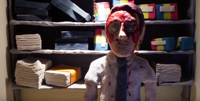 We're excited to debut three claymation shorts tied to The Belko Experiment. Image: Blumhouse