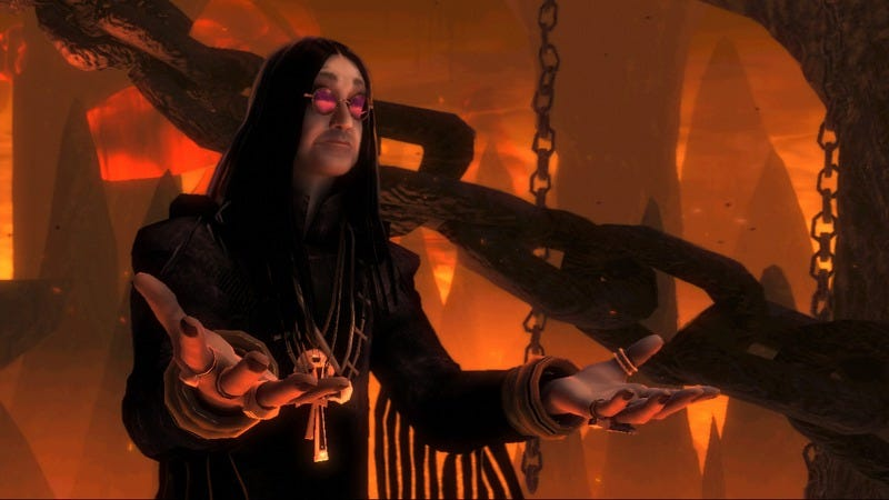 Ozzy Osbourne as he appears in Brütal Legend, a game that, miraculously, wasn't canceled
