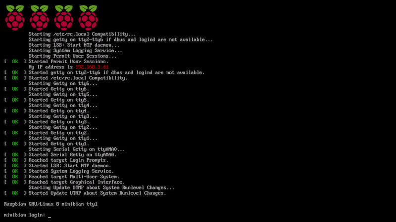 Rasbian Boot and Login Sequence