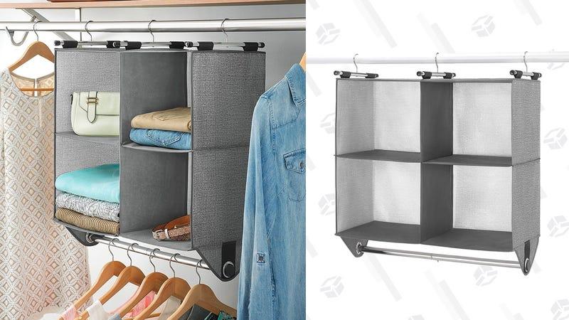 Whitmor 4 Section Fabric Closet Organizer Shelving with Built In Chrome Garment Rod | $21 | Amazon