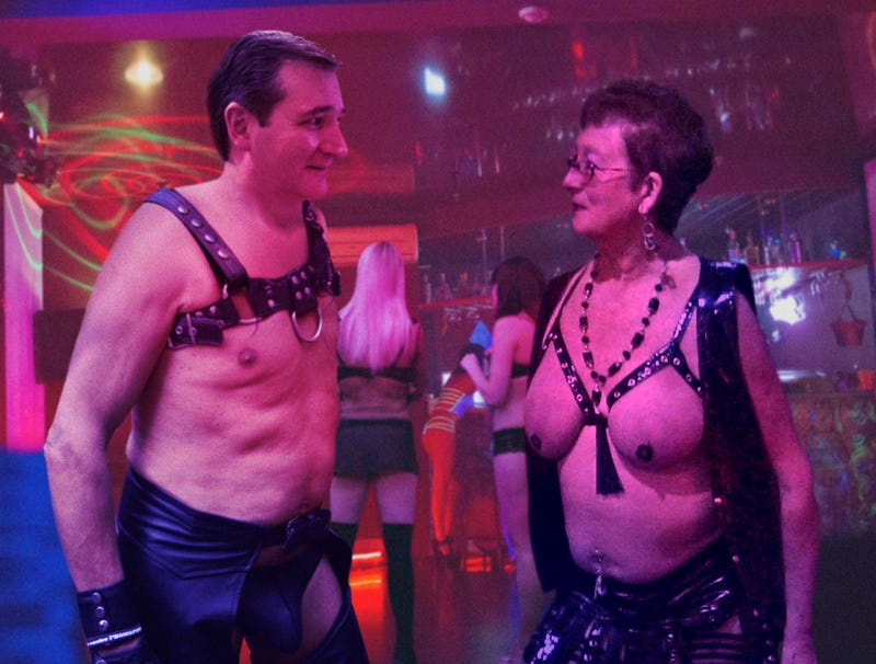 Illustration for article titled Leather-Clad Ted Cruz Greeting Voters At Reno-Area Fetish Club