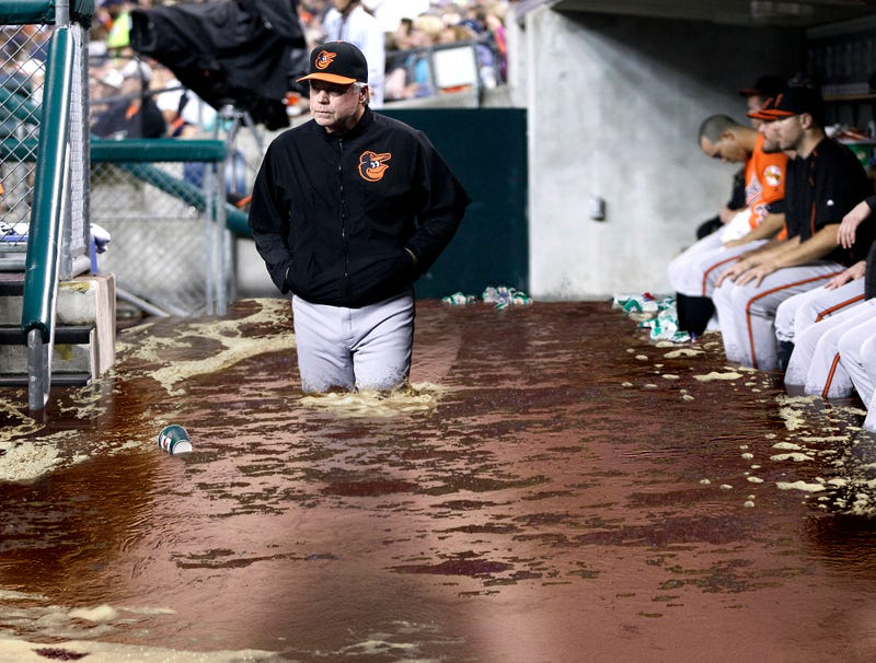 Illustration for article titled Clogged Drain Causes Orioles' Dugout To Overflow With Chewing Tobacco Spit