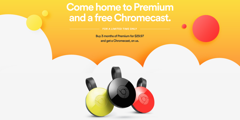 Illustration for article titled Buy Three Months of Spotify Premium, Get a Free Chromecast