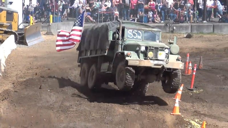 Illustration for article titled U.S. Army Truck Takes on Tuff Truck Course, Bounces Straight to the Angels