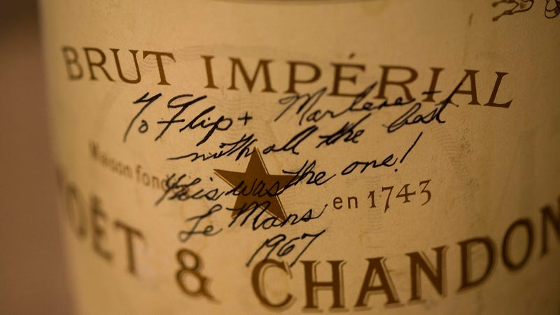Illustration for article titled This is the first bottle of champagne sprayed after winning a race