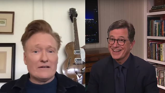 Conan and Colbert decide to just interview each other, possibly get sued by Bob Dylan
